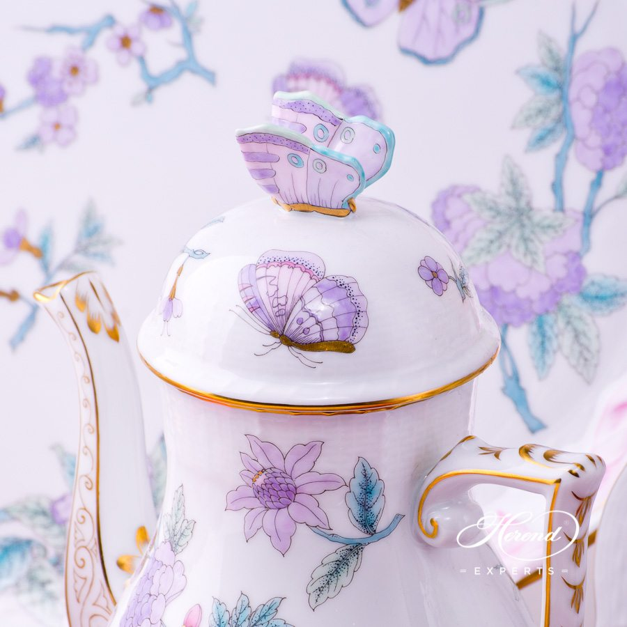 Coffee Setfor2 Persons- HerendRoyal Garden EVICT2 Turquoisepattern. Herend porcelain hand painted