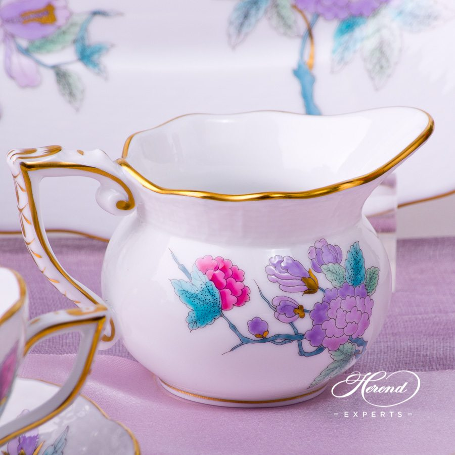 Tea Set for 2 Persons - Herend Royal Garden EVICTF2 Flower Turquoise pattern. Herend fine china. Hand painted