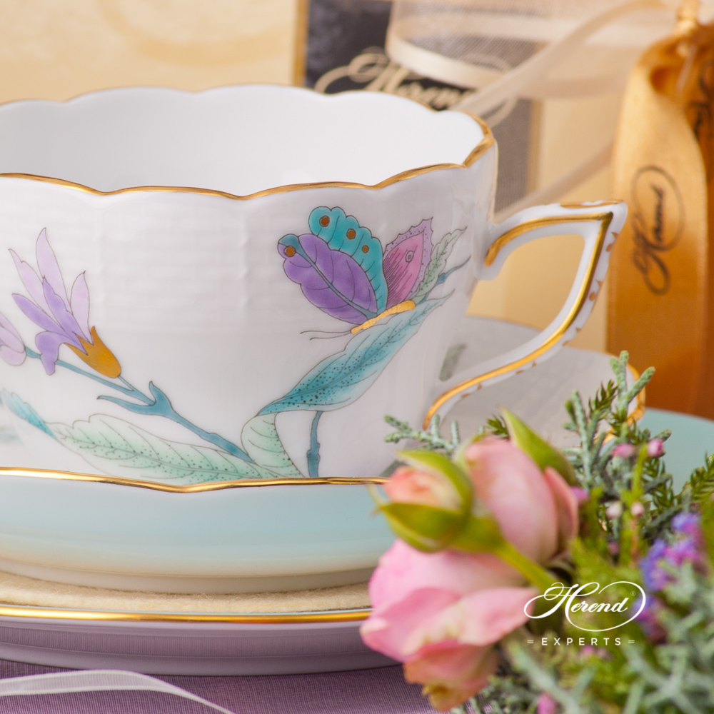 Tea Cup / Coffee Cup 730-0-00 EVICTF2 Royal Garden Turquoise Flower design. Universal Cup. Herend fine china