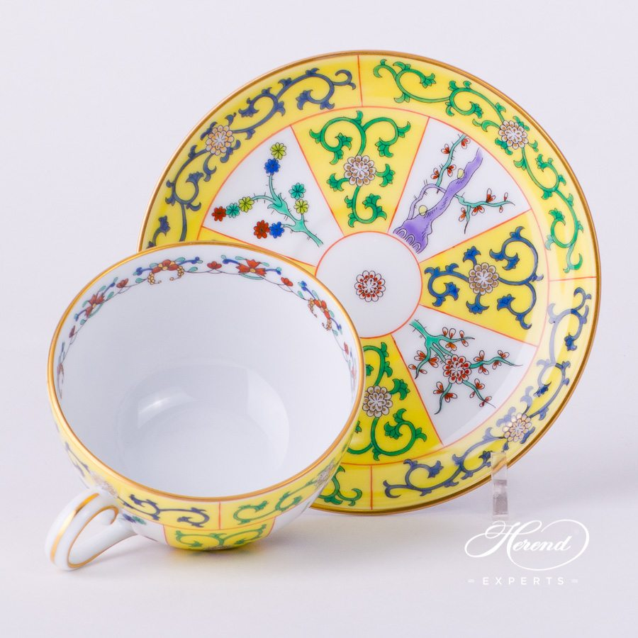 Tea Cup with Saucer 2703-0-00 SJ Siang Jaune decor. Herend fine china tableware. Hand painted
