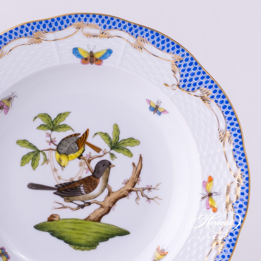 Soup Plate 504-0-00 RO-ETB Rothschild Bird Blue Fish scale design. Herend fine china tableware. Hand painted