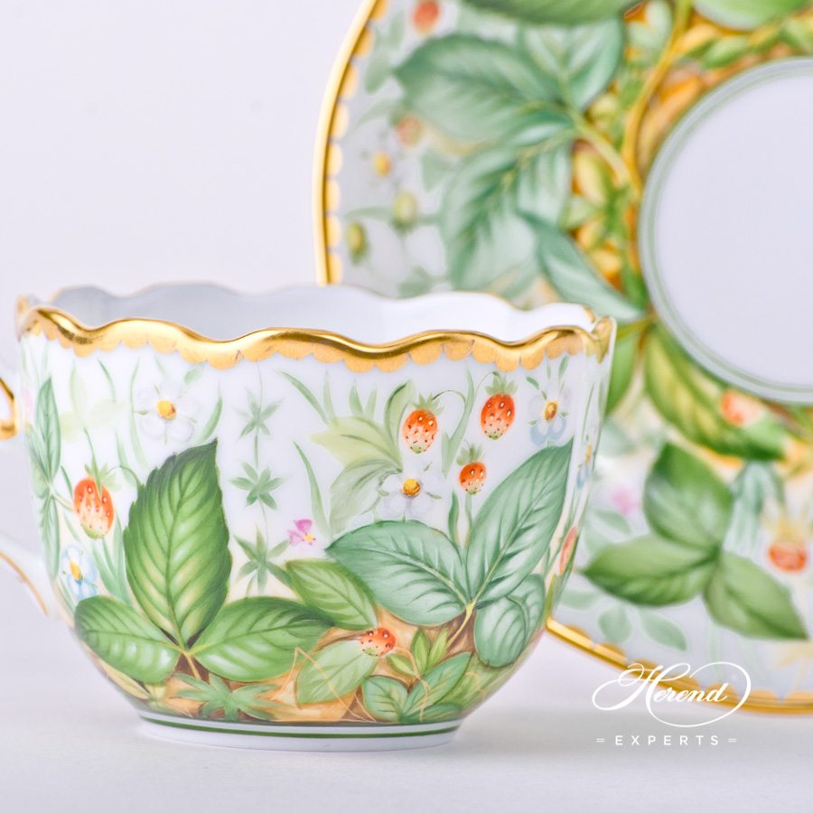 Coffee/Espresso Cup with Saucer 20711-0-00 FSB Strawberry decor. Herend porcelain hand painted