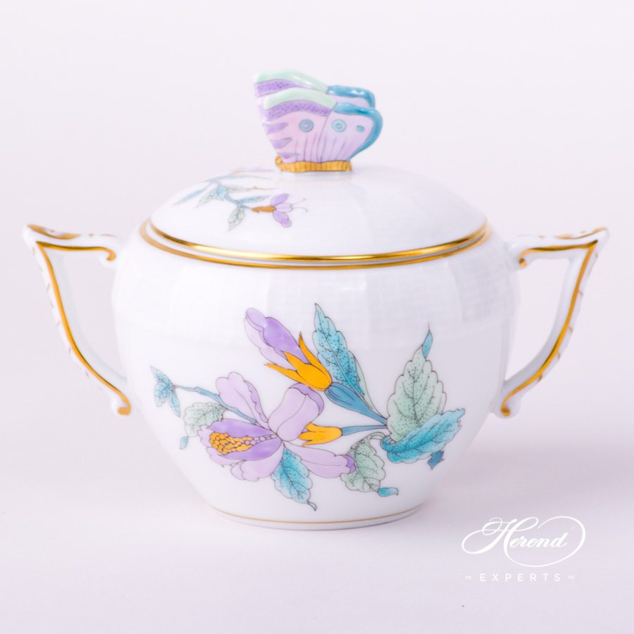 Sugar Basin w. Butterfly Knob 472-0-17 EVICTF2 Royal Garden Turquoise Flower design. Herend fine china