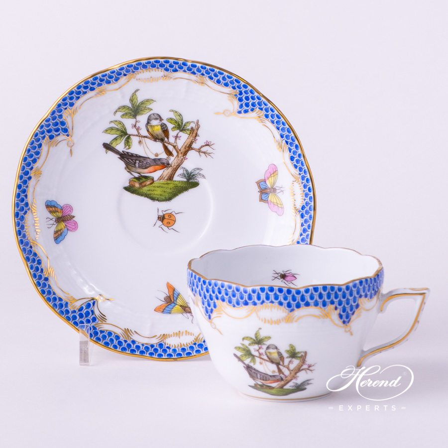 Tea / Coffee Cup with Saucer730-0-00 RO-ETB Rothschild Bird Blue Fish Scale design. Herend fine china tableware. Hand painted