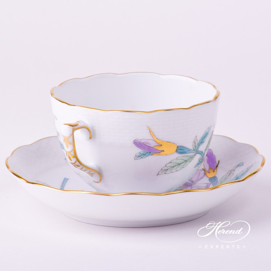 Tea Cup w Saucer 701-0-00 EVICT2 Royal Garden Turquoise Butterfly w. Flower design. Herend fine china