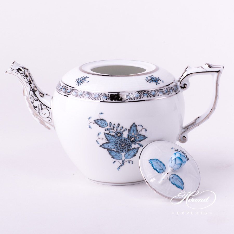 Tea Pot with Bud Knob 606-0-12 ATQ3-PT Apponyi Turquoise decor. Herend porcelain hand painted