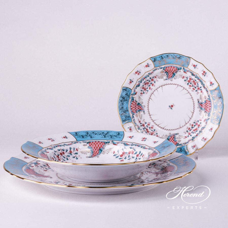 Place Setting 3 Pieces- Herend Tupini TCA design. Herend fine china hand painted. Luxury Herend design