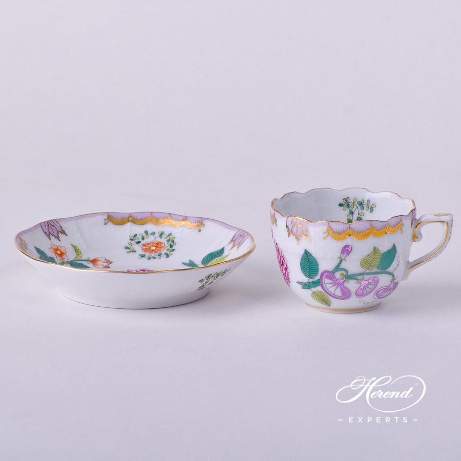Coffee / Espresso Cup with Saucer 711-0-00 WBO Windsor Flowers decor. Herend porcelain tableware. Hand painted