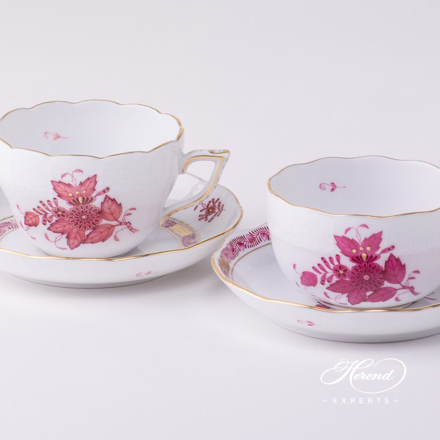 Tea Cup or Coffee Cup and Saucer 730-0-00 AP2 Apponyi Light Purple and Apponyi Purple patterns. Herend porcelain tableware. Hand painted