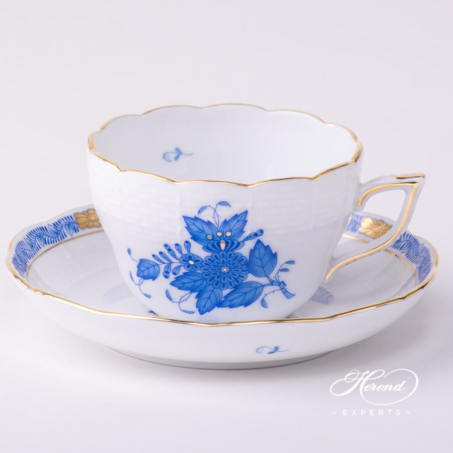 Tea Cup or CoffeeCup and Saucer730-0-00 AB Apponyi Blue pattern. Herend porcelain tableware. Hand painted