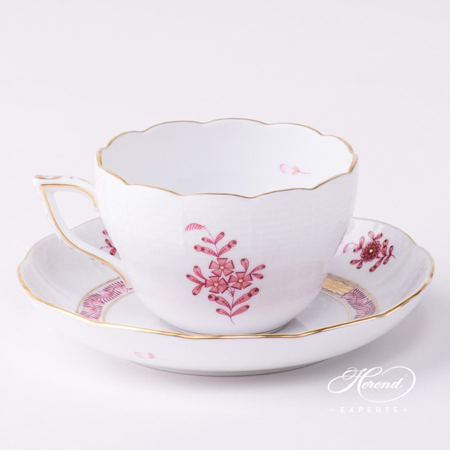 Tea Cup or Coffee Cup and Saucer 730-0-00 AP2 Apponyi Light Purple pattern. Herend porcelain tableware. Hand painted
