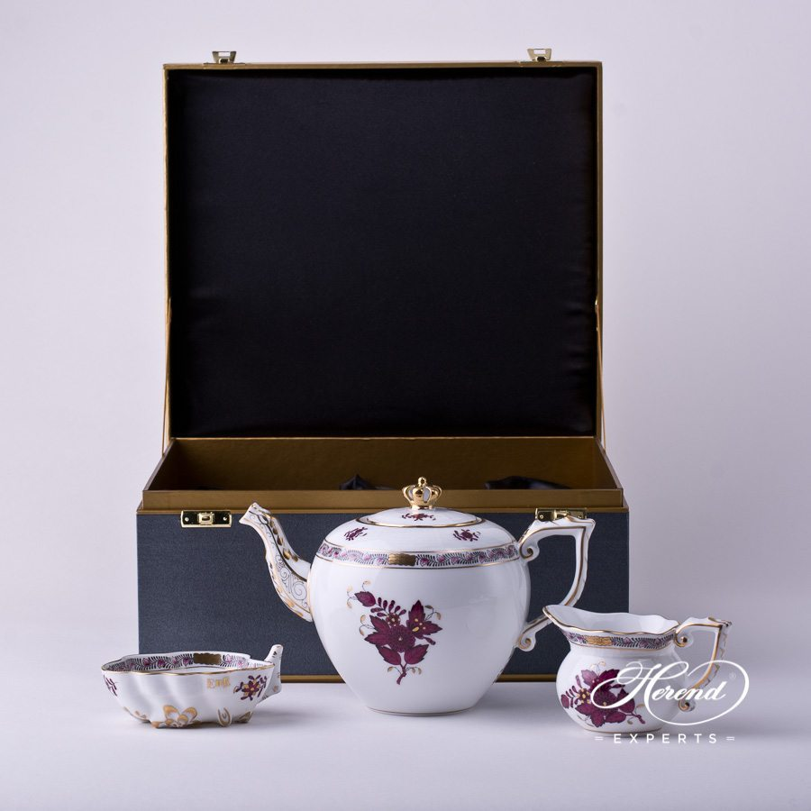 Basic Tea Set - Queen Anniversary - Apponyi AP3-X1+MON Burgundy decor. Herend porcelain hand painted