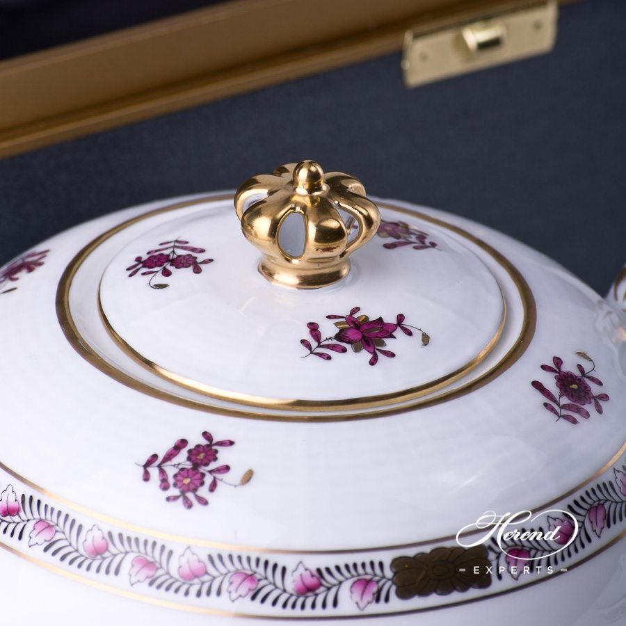 Basic Tea Set - Queen Anniversary - Herend Chinese Bouquet / Apponyi Burgundy - AP3-X1 design. Herend fine china