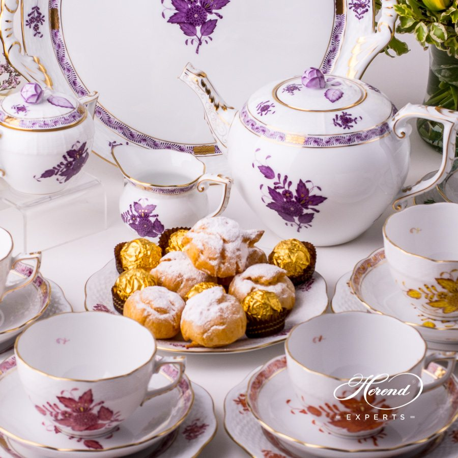 Tea Set for 6 Persons with Cake Plate - Apponyi Mixed pattern. Herend porcelain hand painted