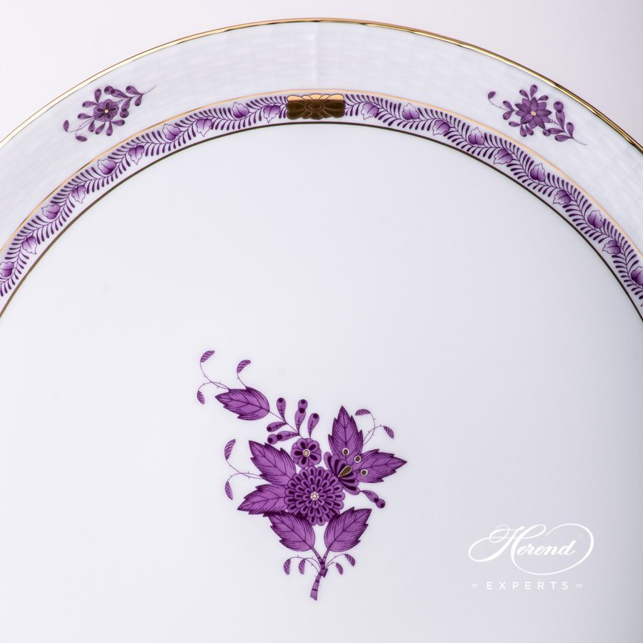 Cake Plate with Handle 315-0-00 AL Apponyi Lilac decor. Herend porcelain hand painted