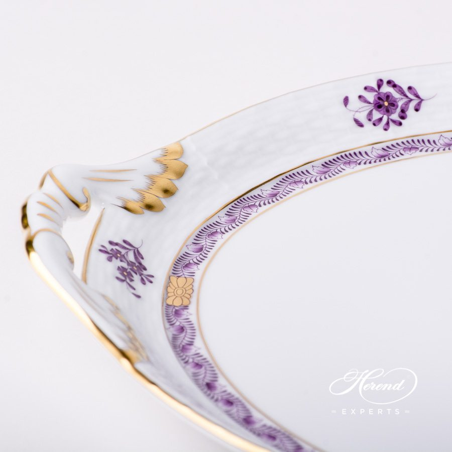 Cake Plate with Handle315-0-00 AL Apponyi Lilac decor. Herend porcelain hand painted