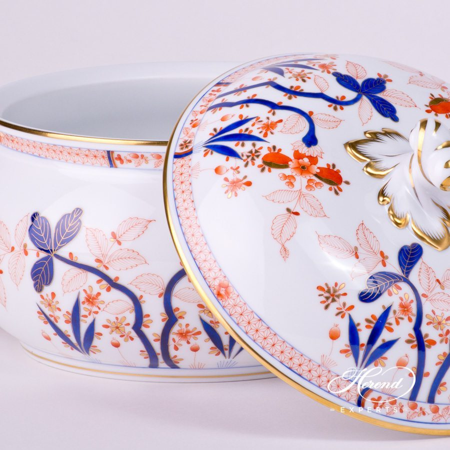 Soup Tureen w. Twisted Knob 2023-0-06 Canton design. Herend fine china tableware. Hand painted