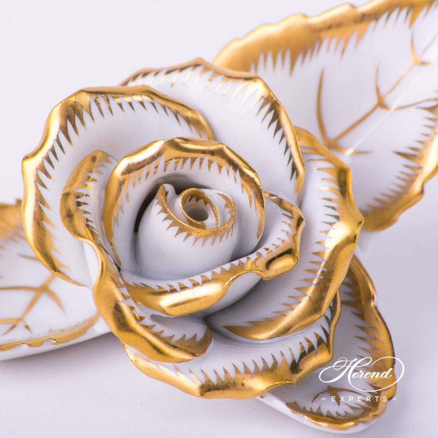 Golden Rose on Leaf and Menu Holder 8983-0-00 CD-OR Gold pattern. Herend porcelain hand painted