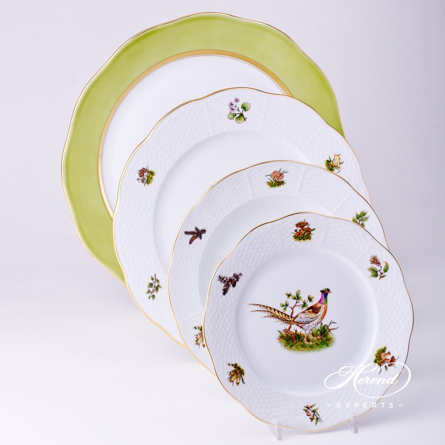 Place Setting4 Piece- Herend Forest Animals CHTM Natural pattern. Herend fine china