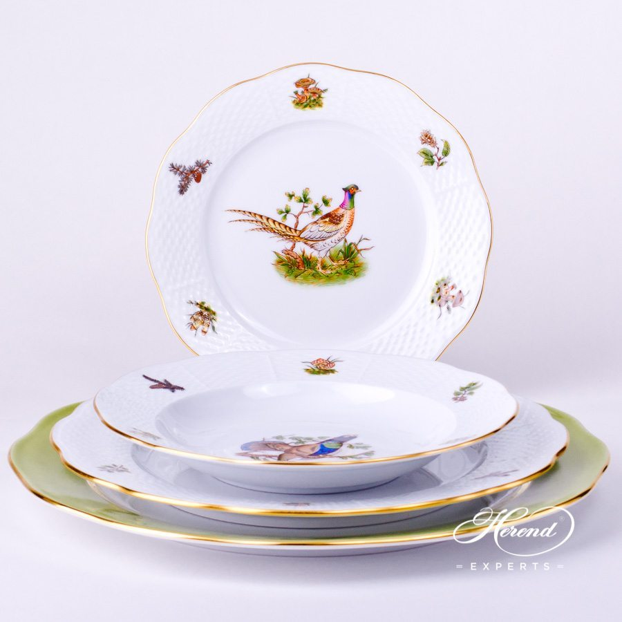 Place Setting4 Piece- Herend Forest Animals CHTMNatural pattern. Herend fine china