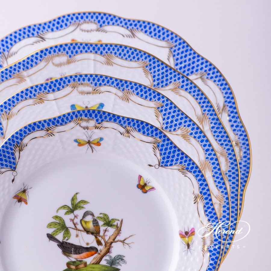 Place Setting 6 Pieces - Herend Rothschild Bird Blue Fish scale RO-ETB design. Herend fine china tableware. Hand painted