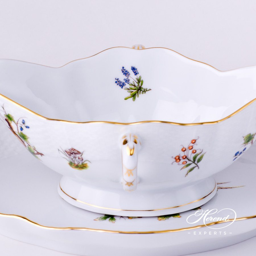 Sauce Boat220-0-00 CHTM and Oval Dish 211-0-00 CHTM Forest Animals patterns. Herend fine china