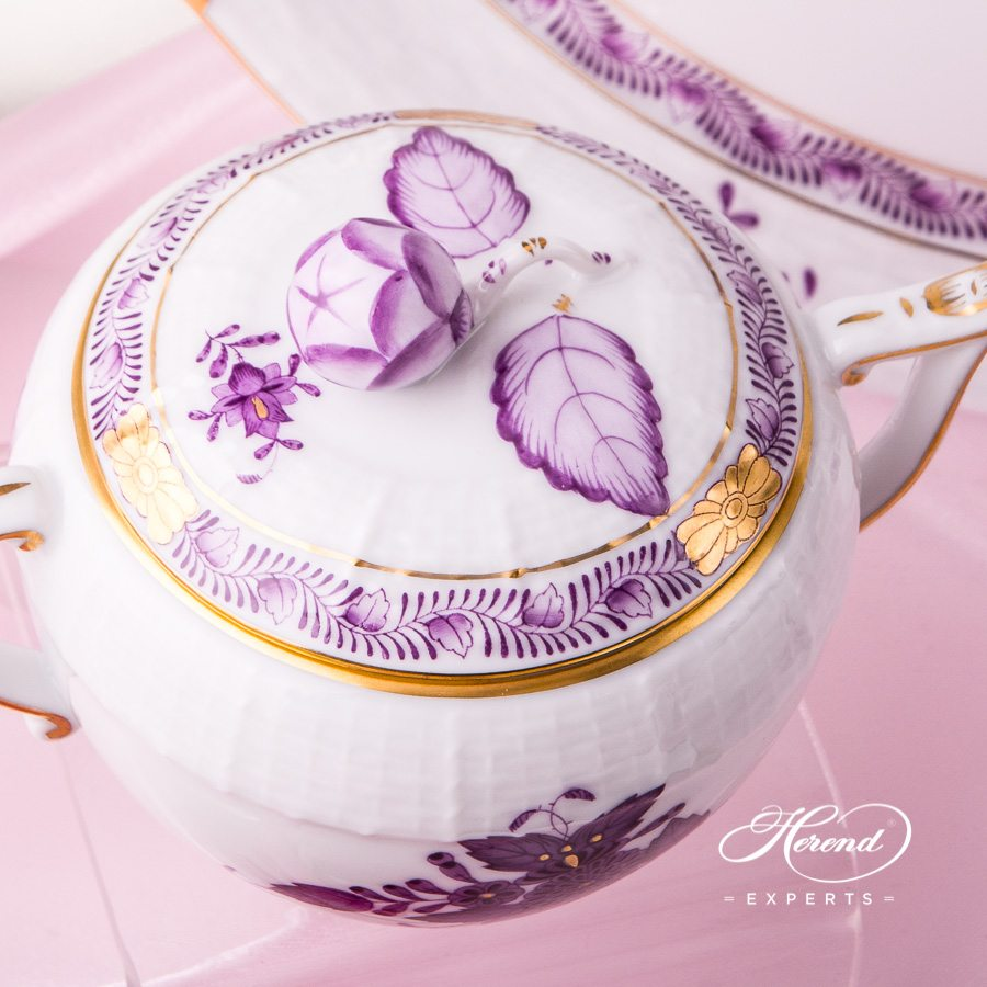Tea Set for 2 Persons with Cake Plate - Apponyi Lilac pattern. Herend porcelain hand painted