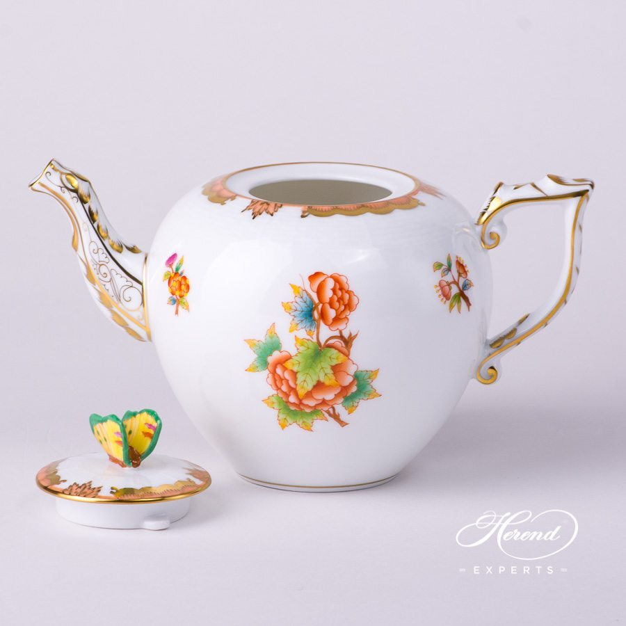 Tea Potw. Butterfly606-0-17 AVBO Anniversary Queen Victoria design. Herend fine china tableware. Hand painted