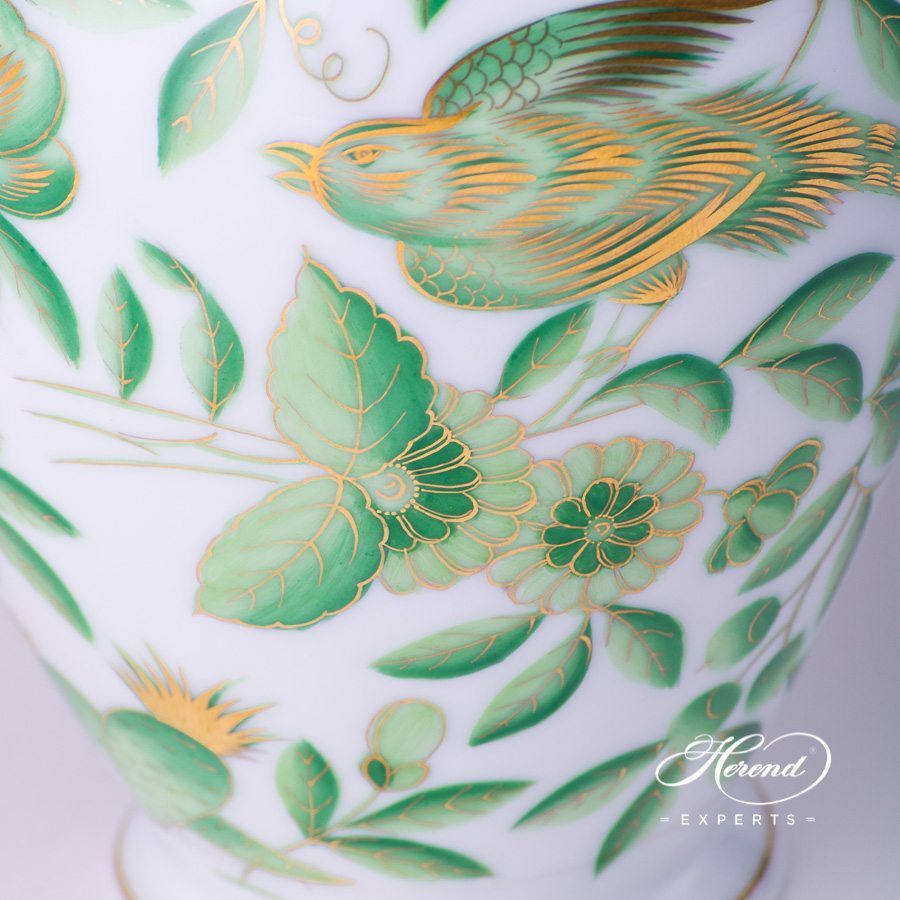 Vase 7018-0-00 ZOVA - Special Green ZOO pattern. Herend porcelain hand painted