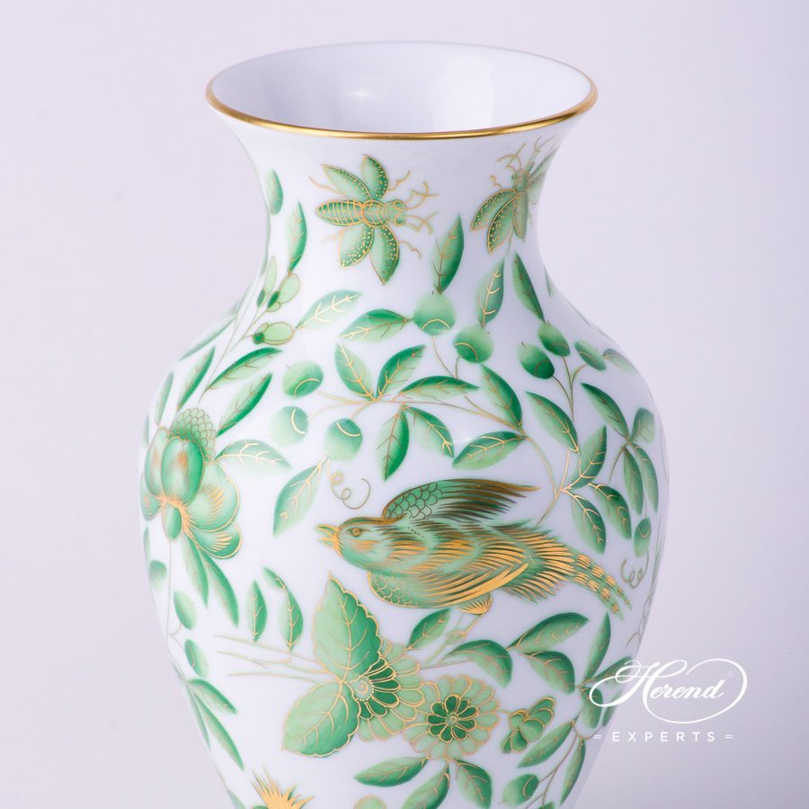 Vase7018-0-00 ZOVA - Special Green ZOO pattern. Herend porcelain hand painted