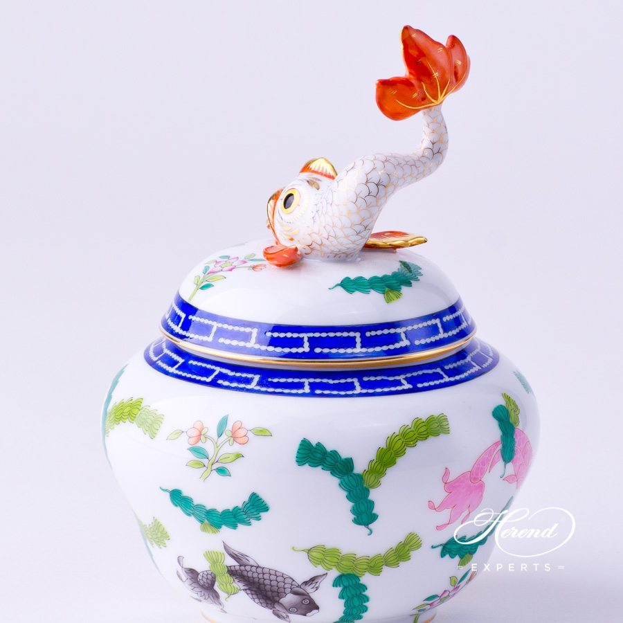 Candy Jarw. Dolphin Knob6092-0-18 PO Fishes design. Herend fine china tableware. Hand painted