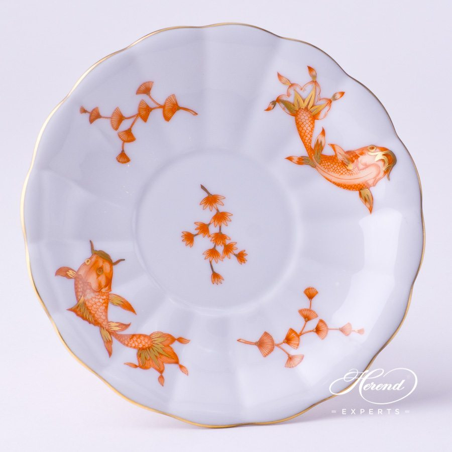Ornamental Cup / Fancy Dish 7557-0-00 COPOH Colored Fishes Orange design. Herend fine china fancy dish. Hand painted