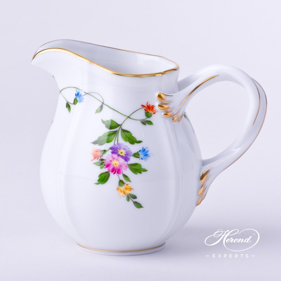 Creamer / Milk Jug 4245-0-00 IAVT Imola Flower Colored design. Creamer / Milk Jug w. Double handles. Herend fine china tableware