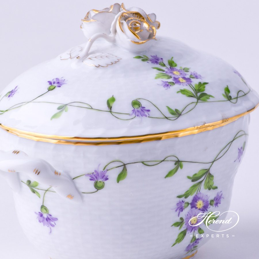 Sugar Basin with Rose Knob 6012-0-09 IA Imola decor. Herend porcelain tableware. Hand painted