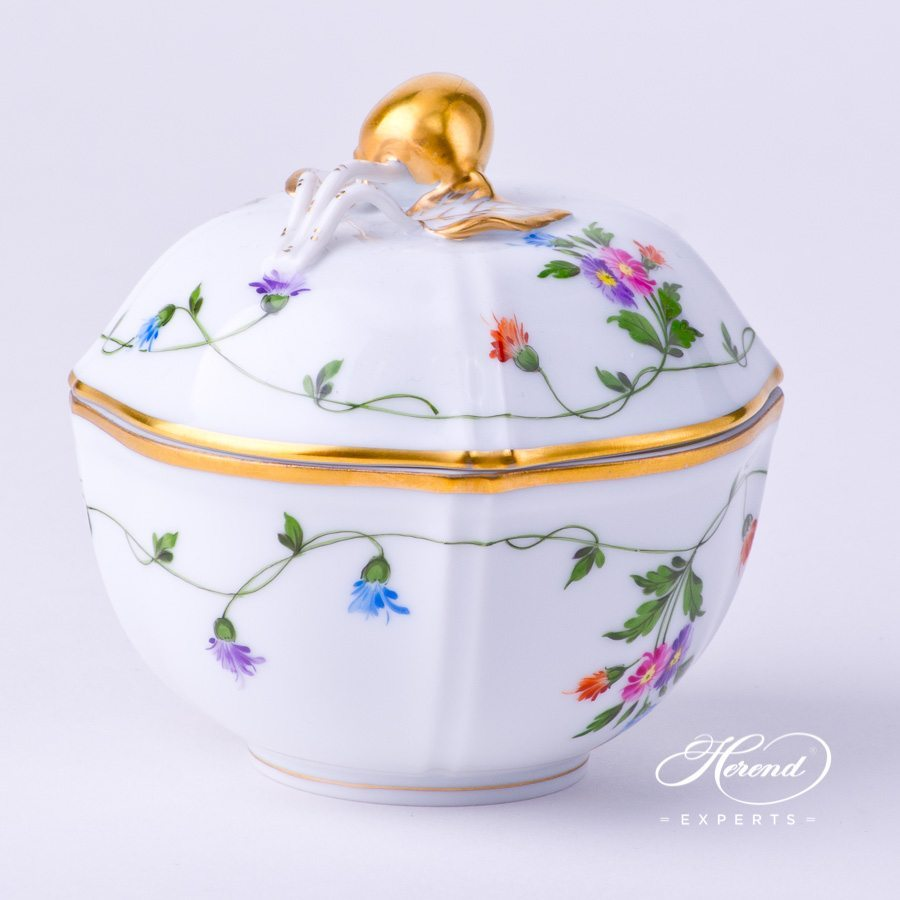 Sugar Basin with Cherry Knob 4246-0-67 IAVT Imola Colored decor. Herend porcelain hand painted