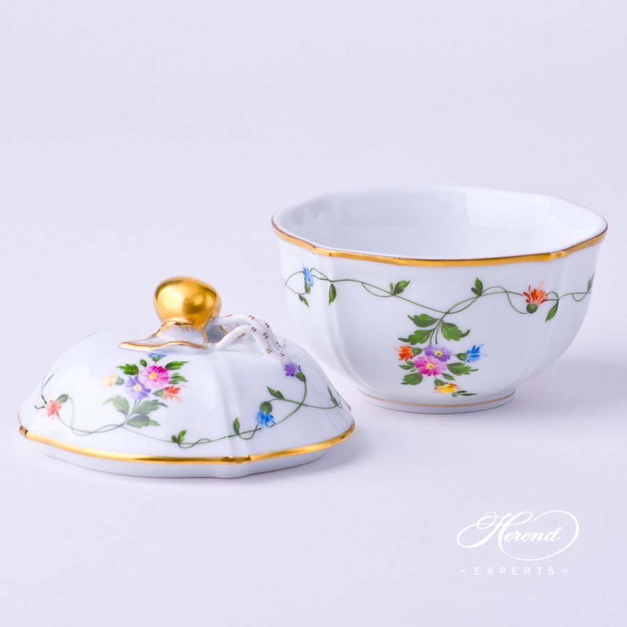 Sugar Basin w. Cherry Knob 4246-0-67 IAVT Imola Flower Colored design. Herend fine china tableware