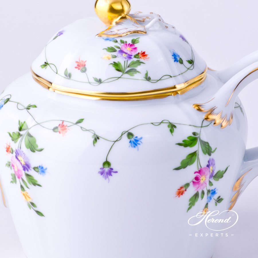 Tea Pot with Cherry Knob 4243-0-67 IAVT Imola Colored decor. Herend porcelain hand painted