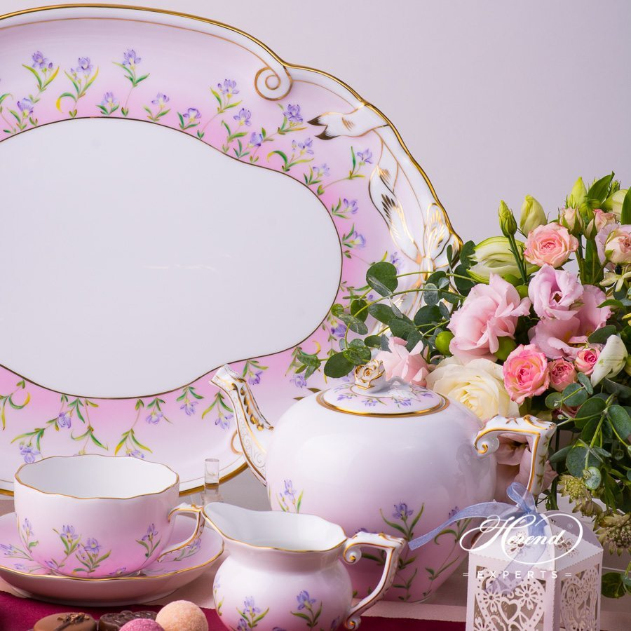 Tea Set with Ribbon Tray for 2 Persons - Iris Pink Flower pattern. Herend porcelain hand painted