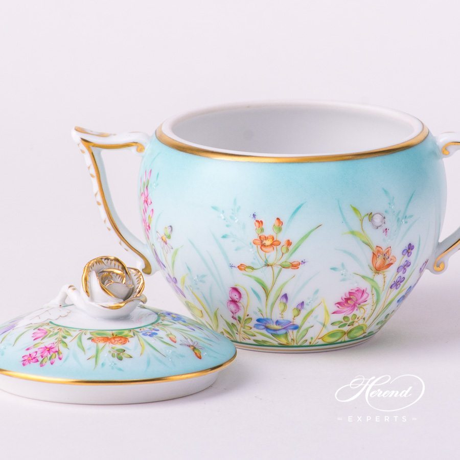 Sugar Basin with Rose Knob 20472-0-09 QS Four Seasons pattern. Herend porcelain hand painted. Flower decor