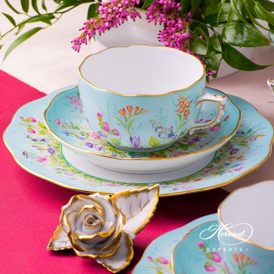 Tea Set with Cake Plate for 2 Persons - Four Seasons QS pattern. Herend porcelain hand painted