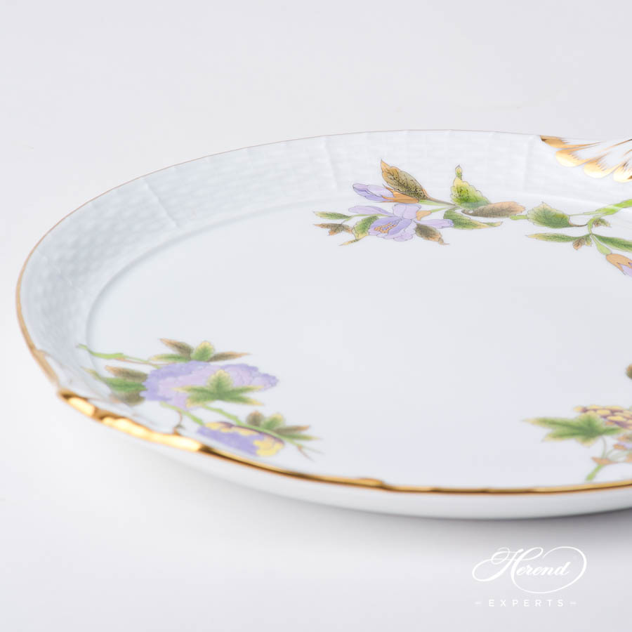 Cake Plate w. Handle 315-0-00 EVICTF1 Royal Garden Green Flower EVICTF1 design. Herend fine china hand painted. Classic style
