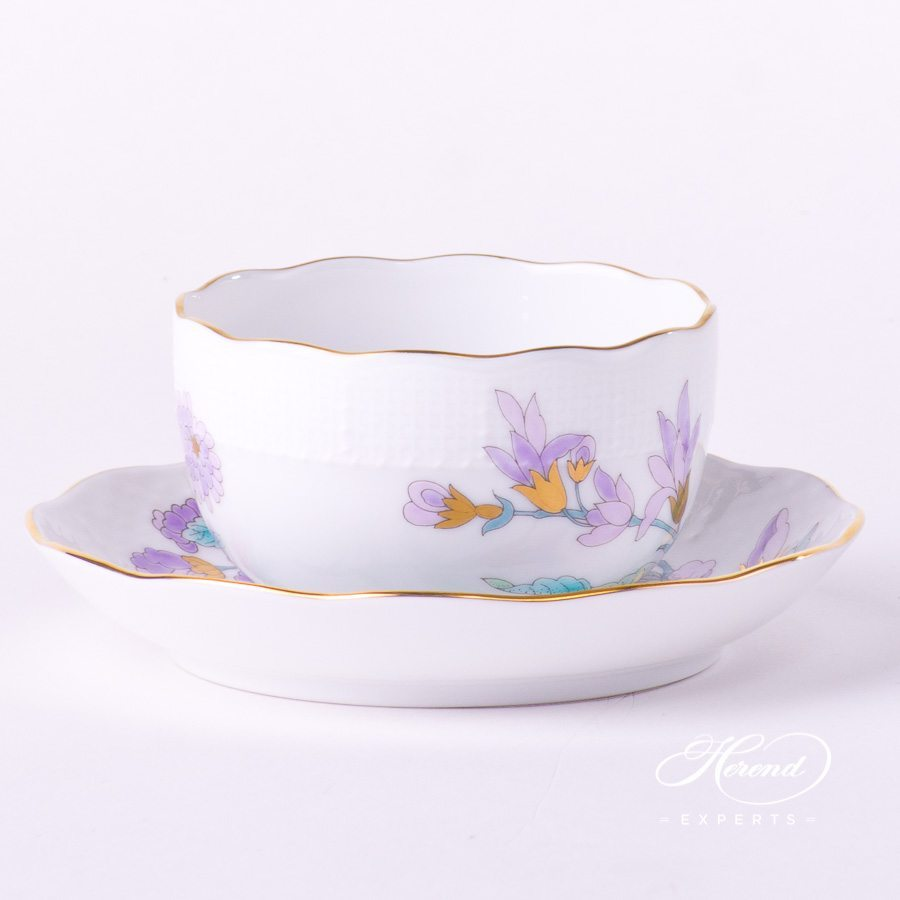 Tea Cup w. Saucer 724-0-00 EVICTF2 Royal Garden Turquoise Flower design. Herend fine china hand painted