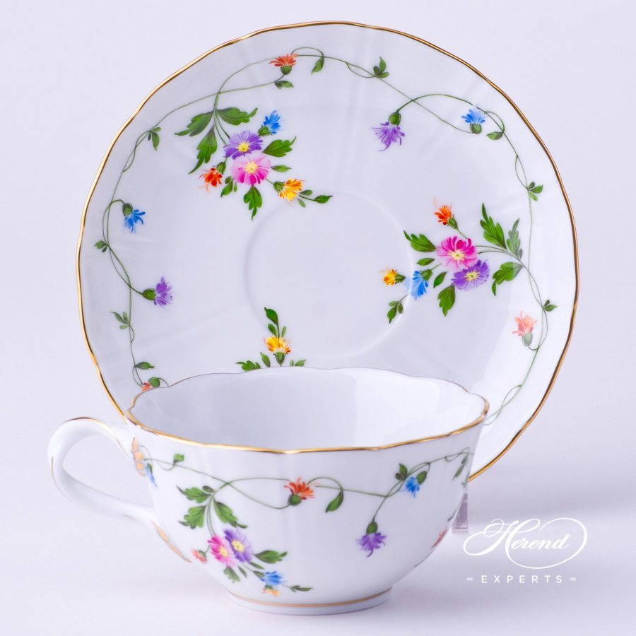 Tea Cup with Saucer 4247-0-00 IAVT Imola Colored decor. Herend porcelain tableware. Hand painted