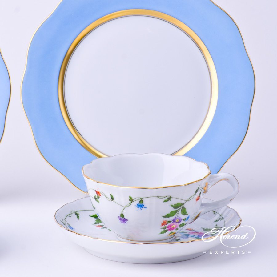Tea Cup and Dessert Plate - 2 pieces- Herend Imola Colored decor. Herend porcelain tableware. Hand painted