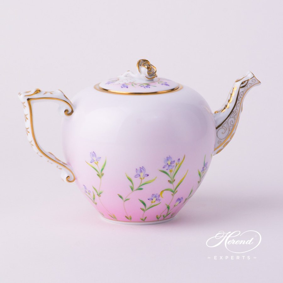 Tea Pot with Rose Knob 20606-0-09 IRIS-P Iris Flower Pink pattern. Herend porcelain tableware. Hand painted