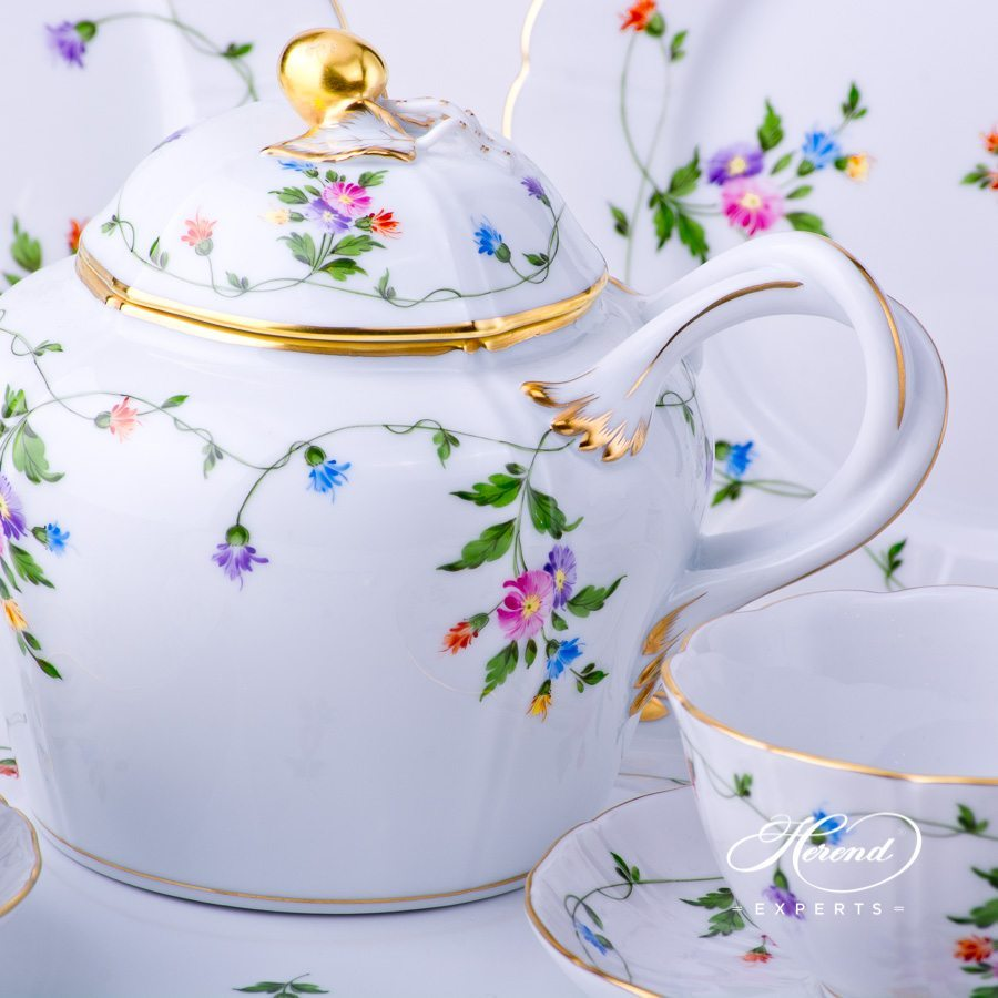 Tea Set w. Dessert Plate for 2 Persons - Herend Imola Colored decor. Herend porcelain tableware. Hand painted