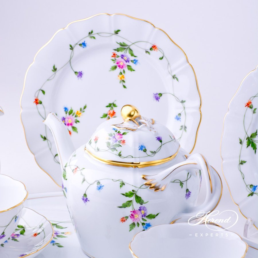 Tea Set w. Dessert Plate for 2 Persons - Herend Imola Colored IAVT design. Herend fine china tableware