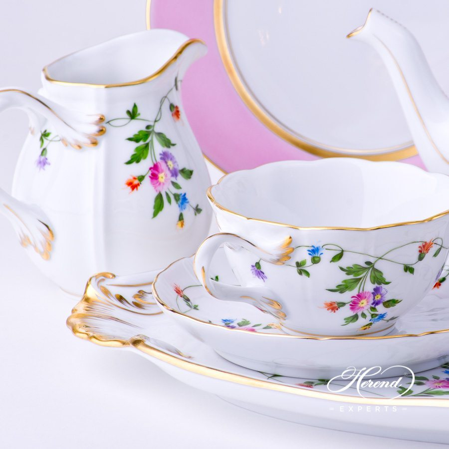 Tea Set w. Pink and Blue Dessert Plate for 2 Persons - Herend Imola Colored decor. Herend porcelain tableware