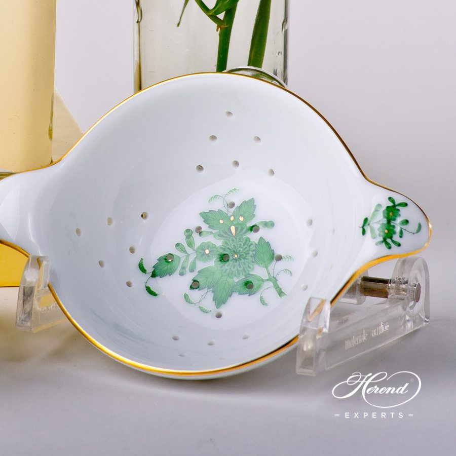 Tea Strainer and Cup 1453-0-00 AV and 1454-0-00 AV Chinese Bouquet / Apponyi Green decor. Herend porcelain tableware. Hand painted