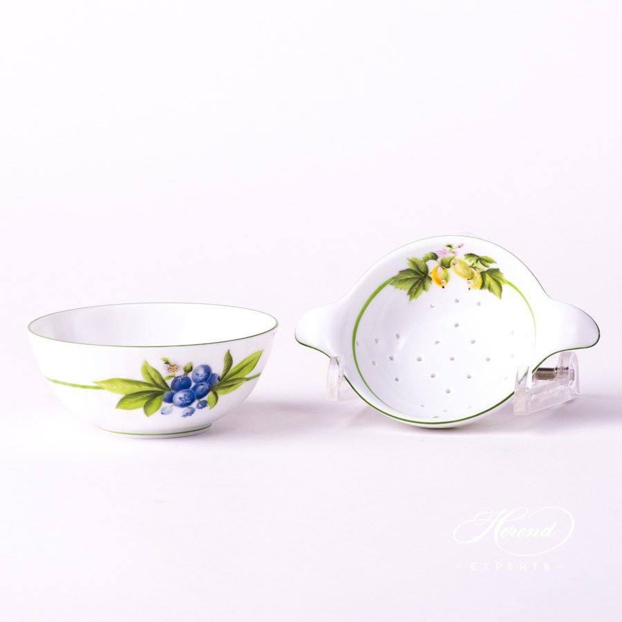 Tea Strainerw. Cup 1453-0-00 BAC and 1454-0-00 BAC Berried Fruits design. Herend fine china tableware